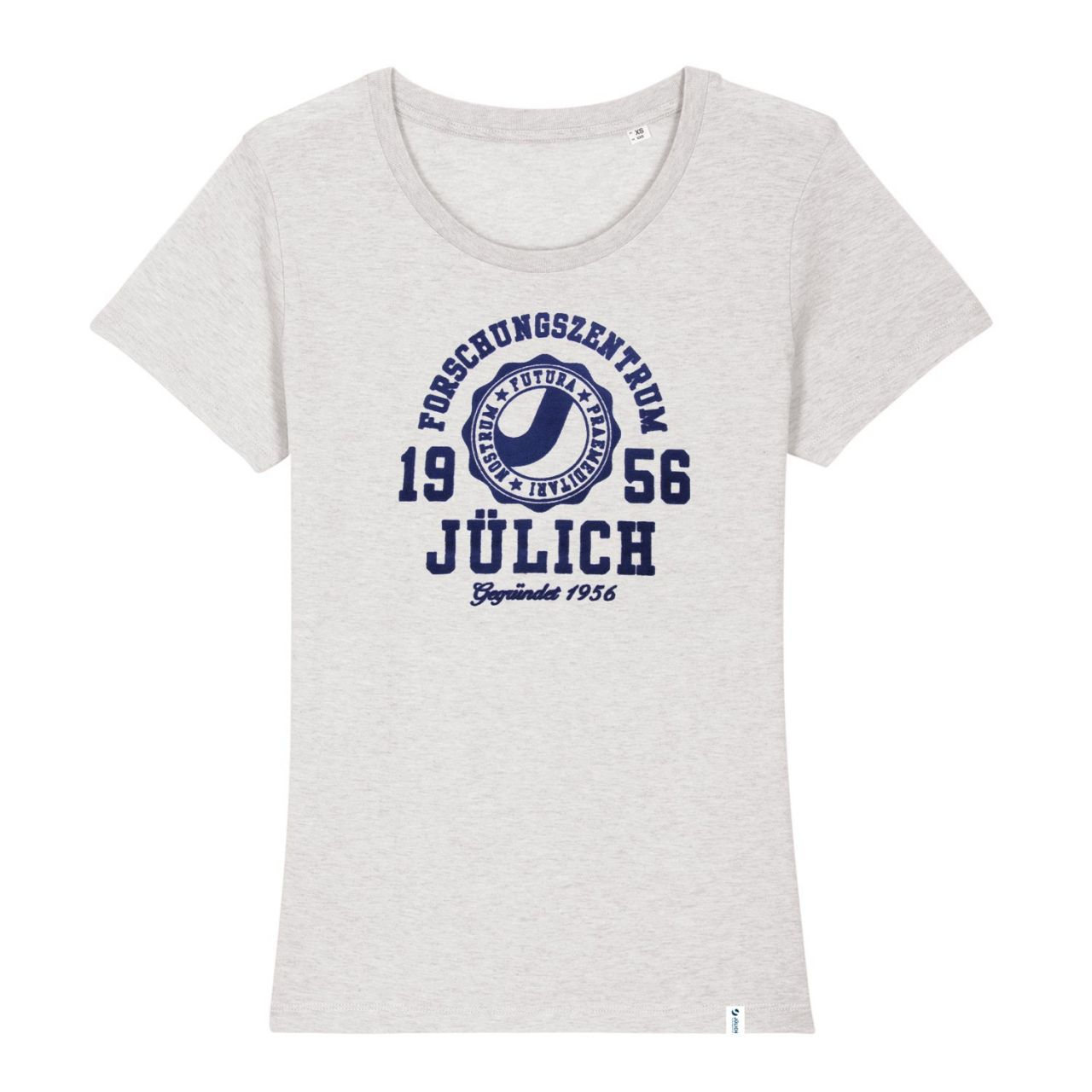 Damen Organic T-Shirt, cream heather grey, marshall.flock.navy
